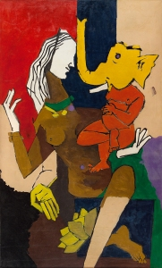 Untitled (Ganesha) by M.F. Husain (oil on canvas)